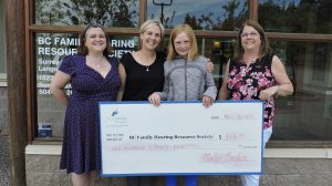 4 women standing outside holding a big cheque.